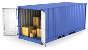 Boxes in a shipping container. Docker packages apps like boxes in containers.